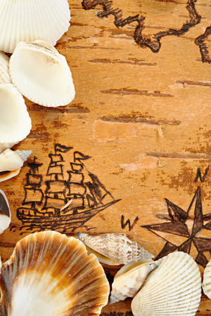 pastiche: Shells on the sea chart with ship on the order of antiquities