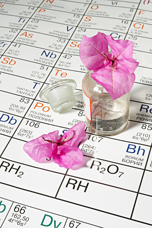 mendeleev: Glass bottle with flower on Mendeleev
