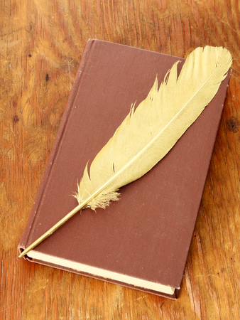 Gold quill pen and brown book on grunge wood board Stock Photo