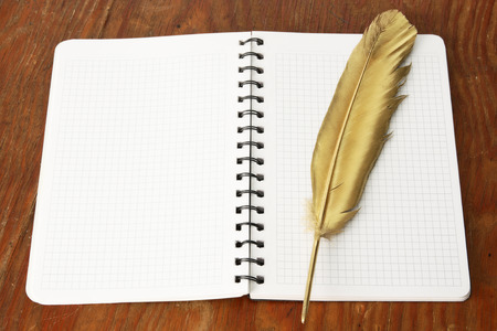 Gold firebird quill pen on a notepad and wooden table