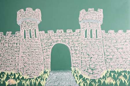 open gate: Education concept. Chalk drawing of castle with open gate Stock Photo