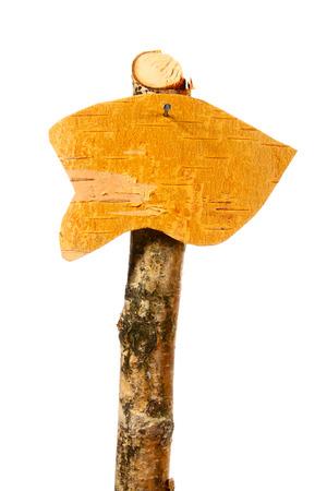 Wood signpost isolated on white photo