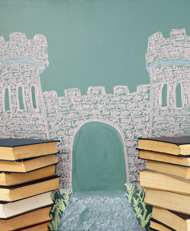 open gate: Unusual literary concept. Chalk drawing of castle with books-towers and road leading to incredible adventure