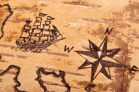 antiquities: The sea chart with ships on the order of antiquities on birchbark