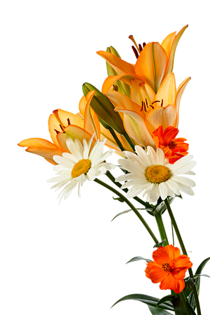 Bouquet summer flowers isolated on a white background photo