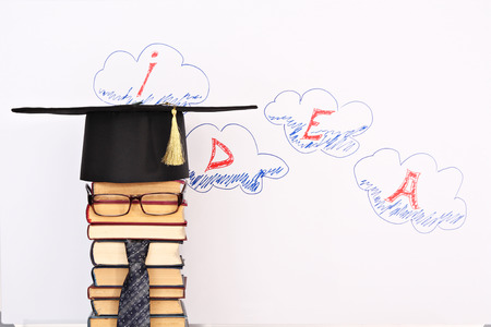 Unusual student parody on a background of idea word in clouds