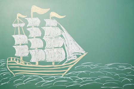 Drawing of a sailing ship on the blackboard