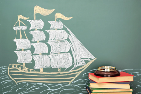 brigantine: Geography school concept Stock Photo