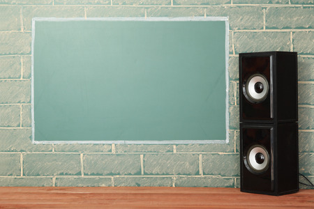 retro vintage: Acoustics system and unusual lcd display with copy space on brick wall