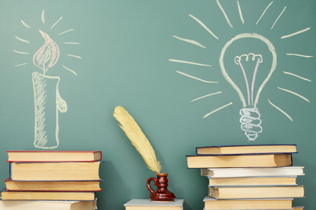 Education idea about history and development of civilization and science Standard-Bild