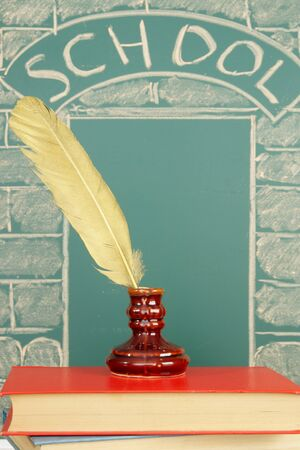 inkwell: Quill pen in inkwell before entry school pictured with chalk on blackboard Stock Photo