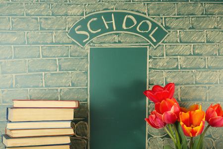 Funny education concept with books and flowers before chalk drawing of school Stok Fotoğraf