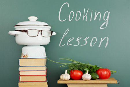 chalk board background: Unusual education idea cooking lesson