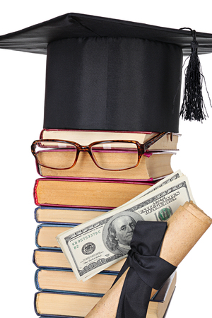 Parody image of the successful student: books, eyeglasses, mortarboard, money