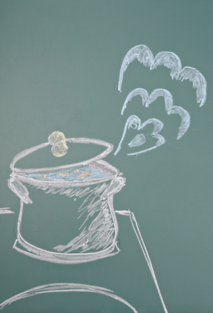 steam cooker: Chalk drawing of saucepan Stock Photo