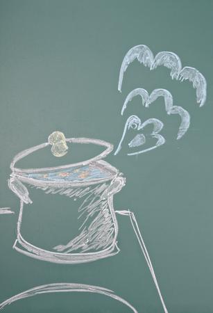 jest: Chalk drawing of saucepan Stock Photo