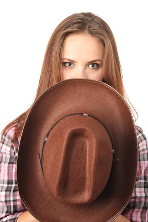 american sexy: Привлекательная девушка покрытие лицо с ковбойской шляпе Фото со стока