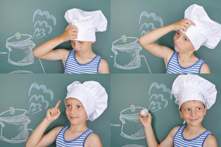 estufa: Cocinero olvidadizo que casi se olvidó de comer sal. Tira cómica
