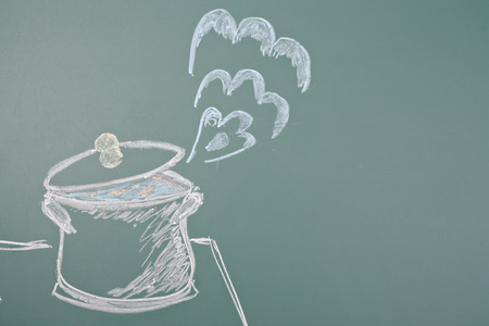 jest: Chalk drawing of saucepan Stock Photo