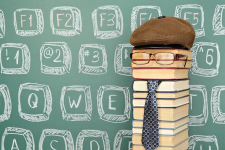 funny boy: Unusual funny professor with a keyboard drawn on the blackboard