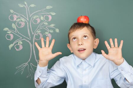 attainments: Universal gravitation education funny concept Stock Photo