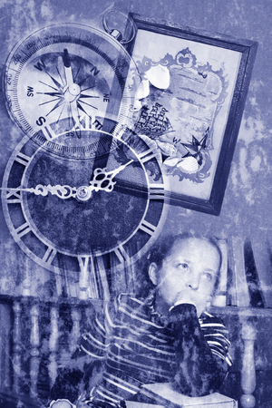 pensiveness: Dreaming transparent grunge collage Stock Photo