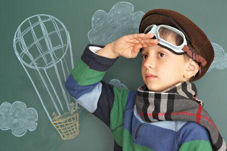aerostatics: Boy dreaming of the sky