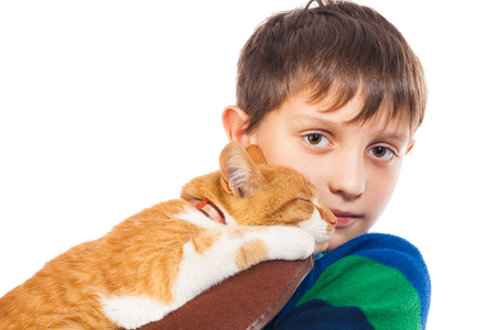 lull: The boy with the darling red cat. Isolated on white