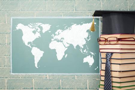 boy child: World map and unusual teacher