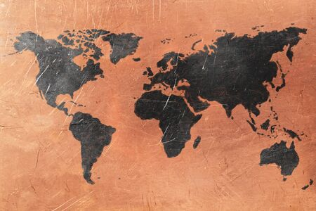 copper background: World map on copper background. Copper and black color
