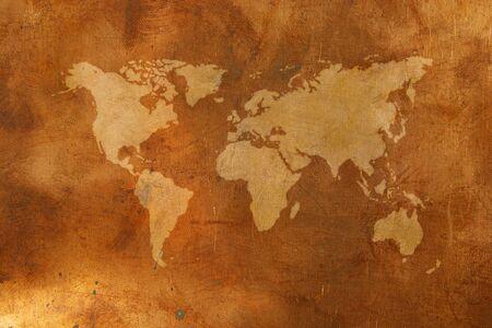 bronze background: World map on bronze background