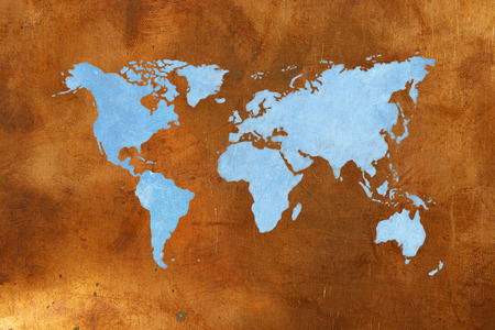 bronze background: World map on bronze background. Copper and blue color