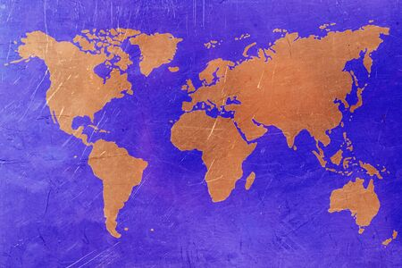 copper background: World map on copper background. Blue and copper color