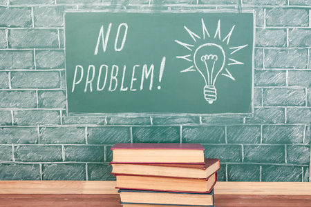 no problem: Education concept with NO PROBLEM inscription and bulb drawing