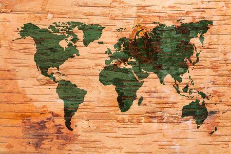 birchbark: World map on birch cork natural texture background Stock Photo