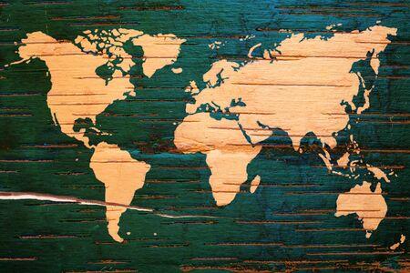 birchbark: World map on birch cork natural texture background_3 Stock Photo