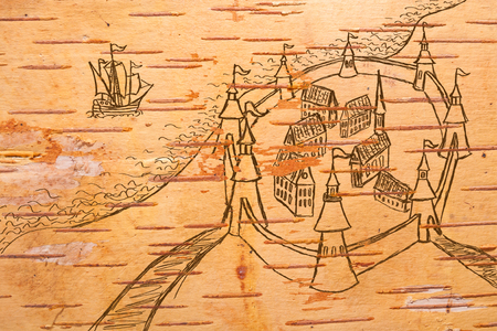 disrepair: Stylized ancient map on the order of olden time on birchbark