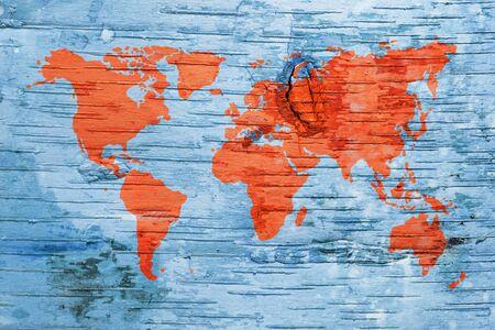 birchbark: World map on birch cork natural texture background_4