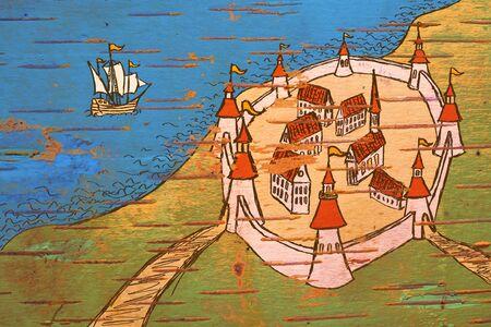 Mappa stilizzata antico colore grunge sull'ordine di tempi antichi su corteccia di betulla
