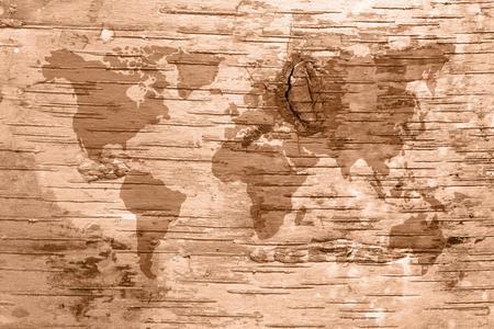 birchbark: Sepia world map on birch cork natural texture background 1
