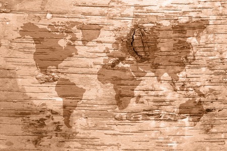 Sepia World Map On Birch Cork Natural Texture Background 1 Stock Photo    60883455