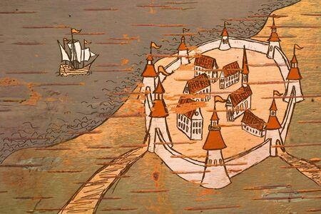 Mappa stilizzata antica grunge sull'ordine di tempi antichi su corteccia di betulla