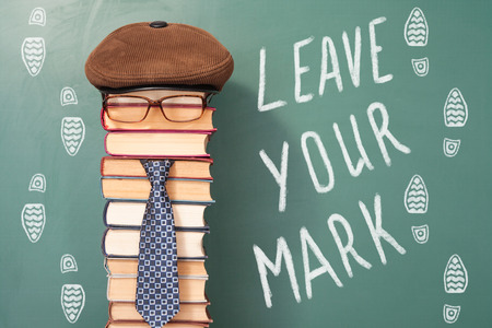 improbable: Leave your mark, funny education concept Stock Photo
