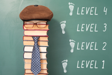 improbable: Funny level education concept with teacher