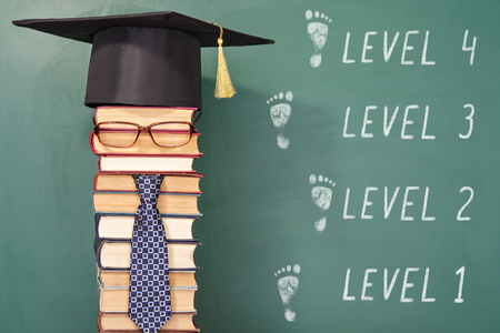 improbable: Funny level education concept with teacher in mortarboard
