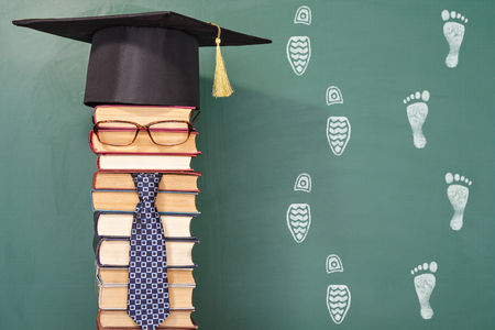 improbable: Funny education concept with the professor in mortarboard