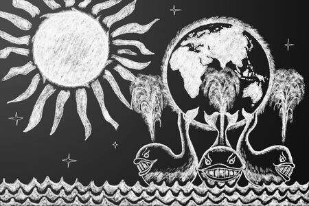 delusion: Education funny illustration. Earth on three whales