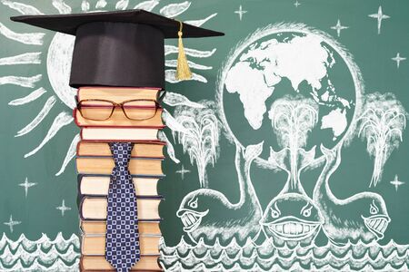 delusion: Education funny concept. Earth on three whales