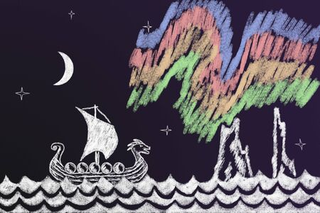northern lights: Funny history chalk drawing with Viking ship under northern lights