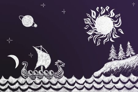 Funny history chalk drawing with Viking ship under sun Imagens